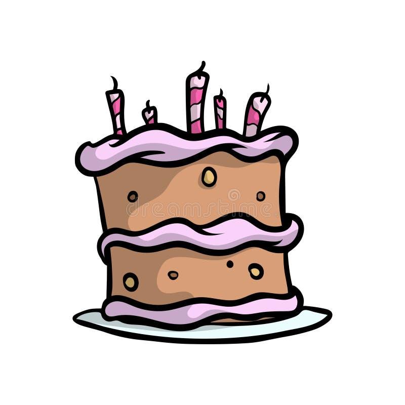 与红色桃红色蜡烛,巧克力黄油的生日乳脂状的蛋糕 皇族释放例证