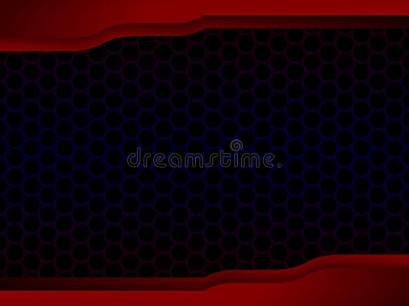 与红色框架,概念Backgrou的抽象蜂窝黑色设计 皇族释放例证