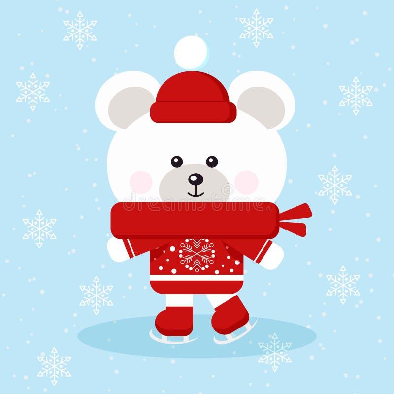 与红色毛线衣、围巾和帽子冰鞋的被隔绝的逗人喜爱的圣诞节北极熊在冰在雪背景中 库存例证