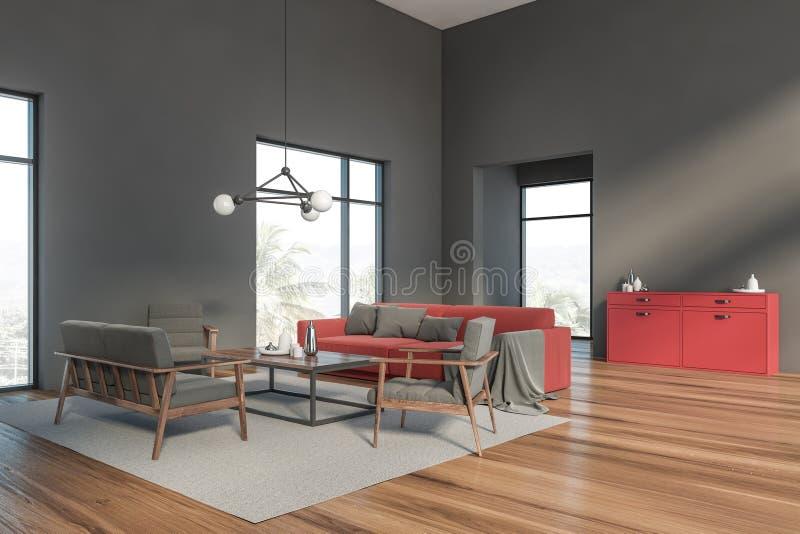 与红色沙发的灰色客厅角落 向量例证