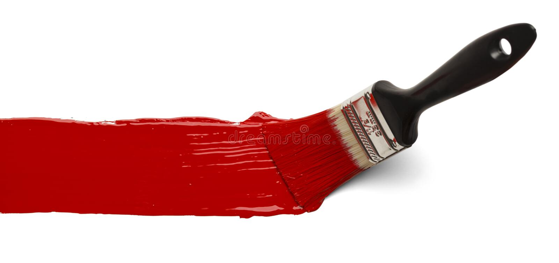 与红色油漆的刷子