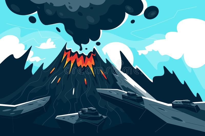 与红色火焰和烟的平的喷发的火山 库存例证