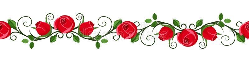 与红色玫瑰的葡萄酒水平的无缝的小插图发芽。 皇族释放例证