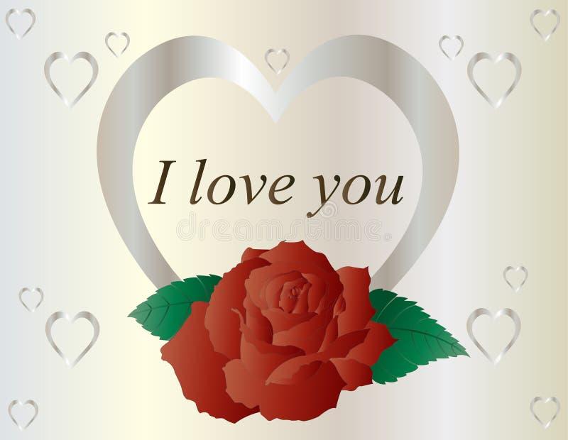与红色玫瑰的银色心脏 向量例证