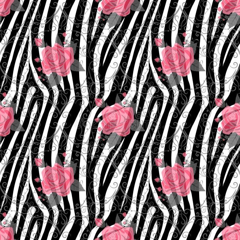 与红色玫瑰色花无缝的样式的斑马条纹 斑马印刷品,动物皮毛,老虎条纹,抽象样式,线背景, 库存例证