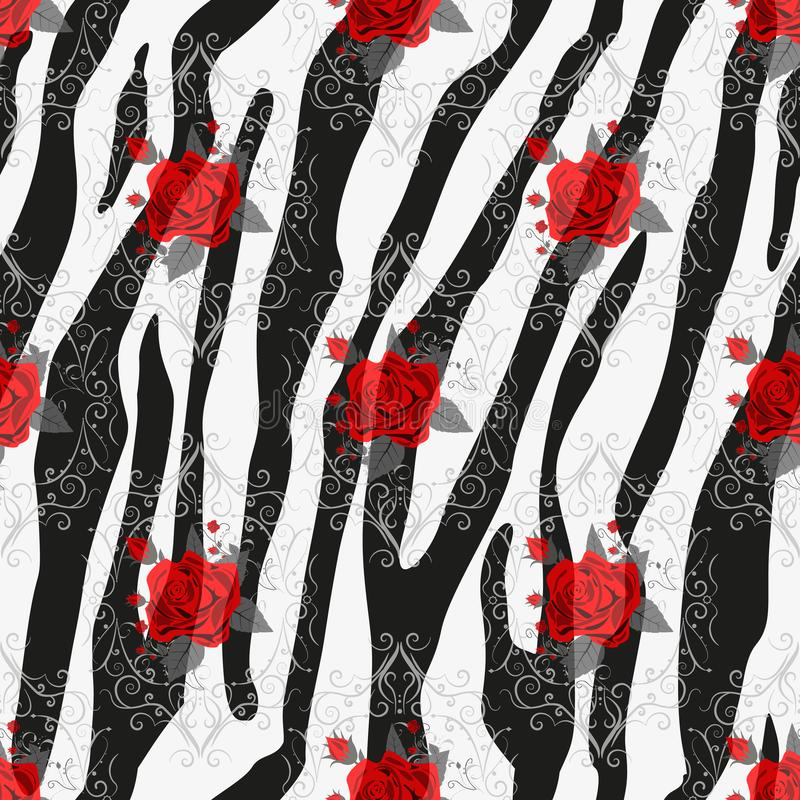 与红色玫瑰色花无缝的样式的斑马条纹 斑马印刷品,动物皮毛,老虎条纹,抽象样式,线背景, 皇族释放例证