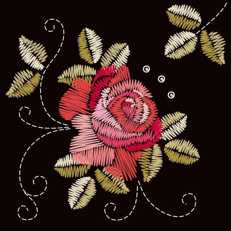 与红色玫瑰花和绿色叶子的刺绣设计 花卉例证向量 库存例证