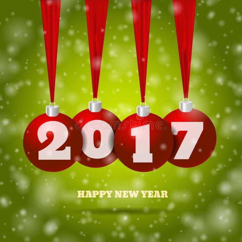 与红色球和绿色bg eps 10 il的新年背景 库存例证