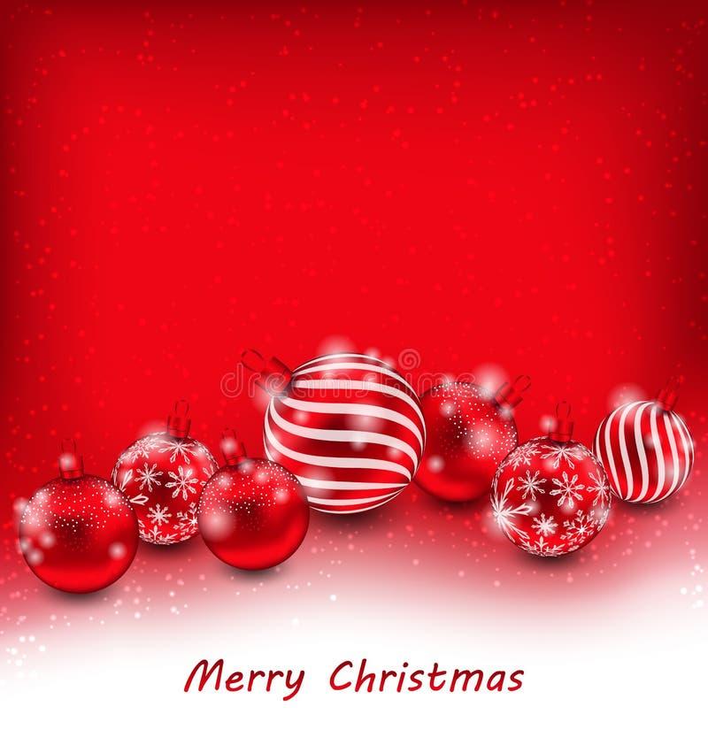 Download 与红色球的圣诞节抽象背景 向量例证. 插画 包括有 季节, 玻璃, 问候, 竹子, 欢乐, christmastime - 62529628