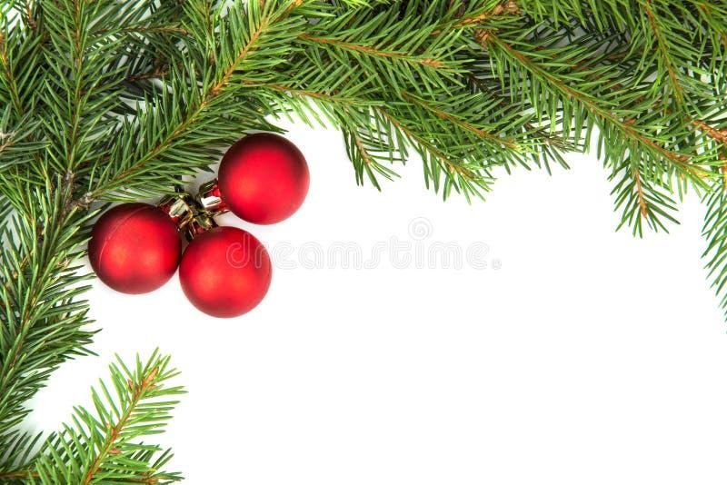 与红色球的圣诞节框架 库存照片