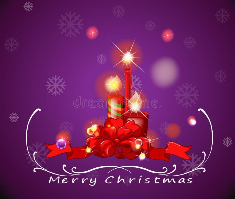 与红色的一张紫色圣诞卡点燃了蜡烛 库存例证