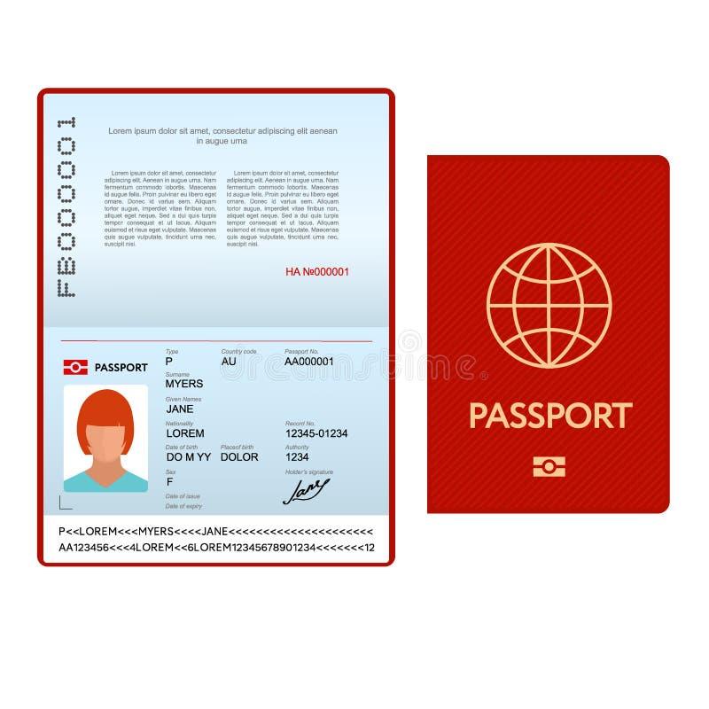 与红色盖子的被打开的国际护照模板 向量例证