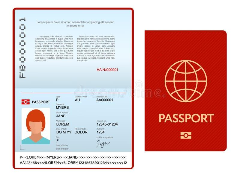与红色盖子的被打开的国际护照模板 皇族释放例证