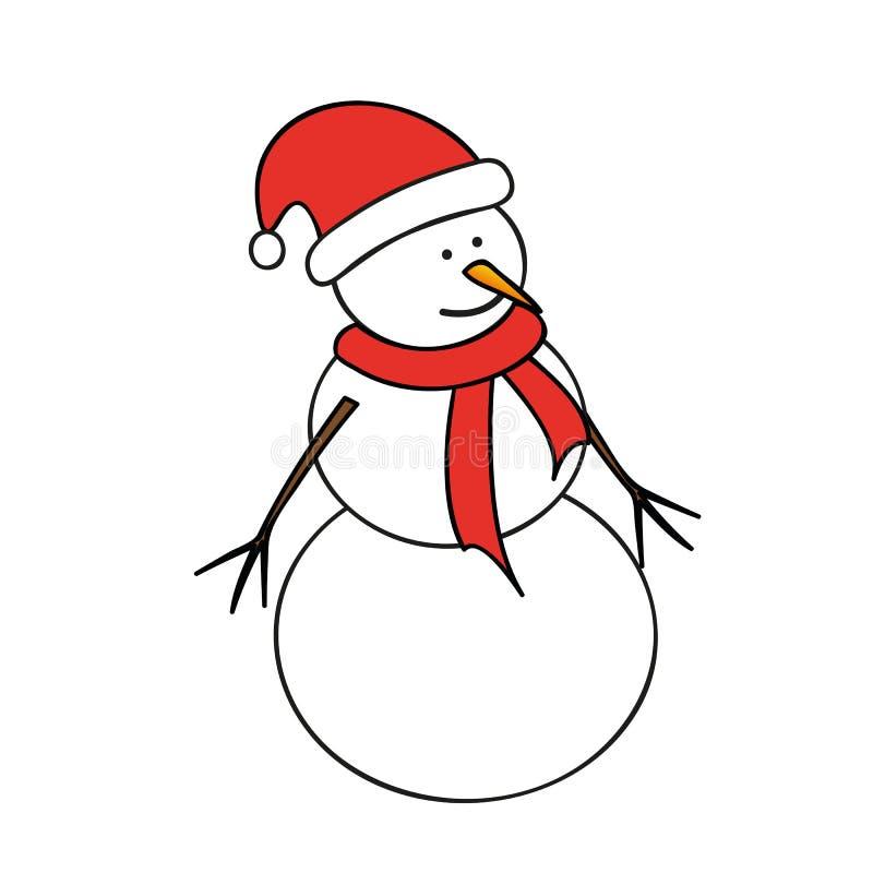 与红色盖帽和围巾的雪人 向量例证