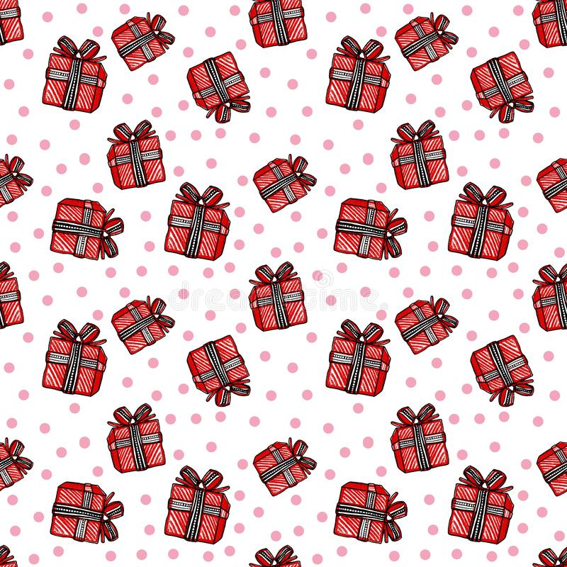 与红色礼物盒的圣诞节和新年无缝的样式和在白色背景的桃红色圈子 皇族释放例证