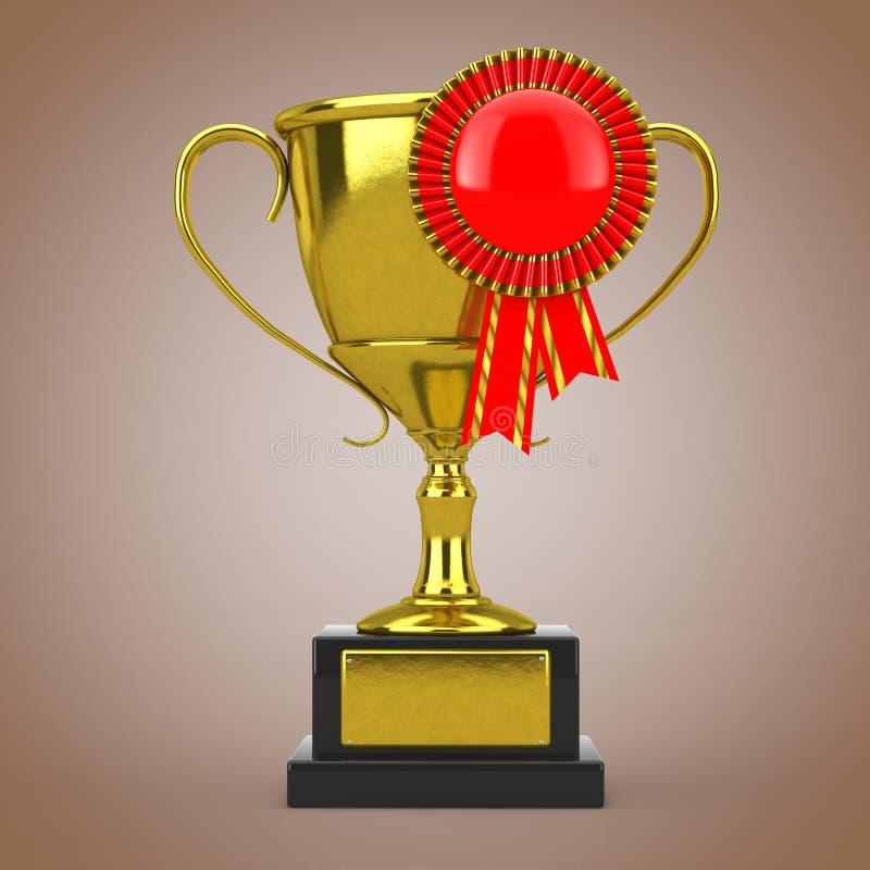 与红色空白的奖丝带玫瑰华饰的金黄奖战利品 3d翻译 库存例证