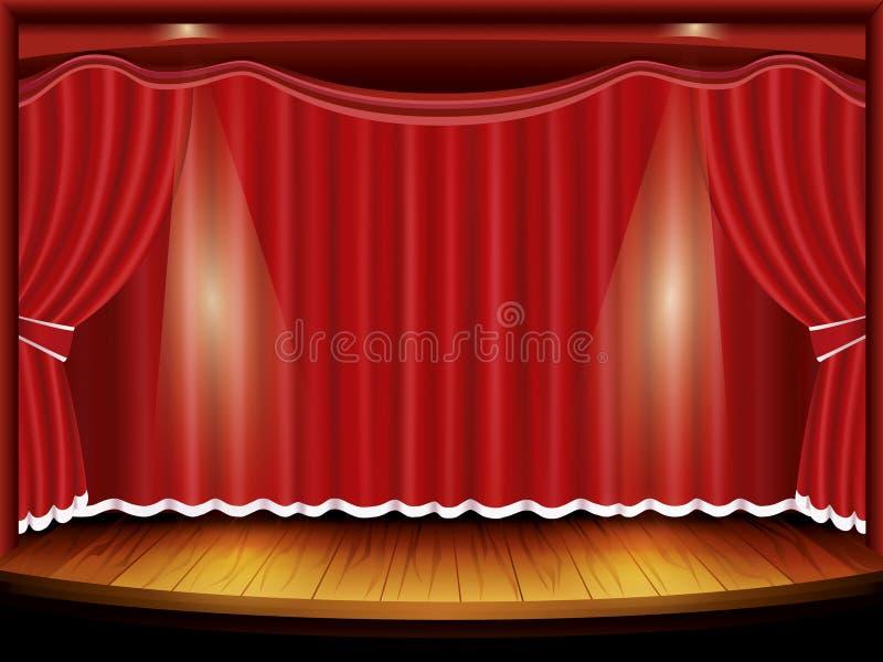 与红色窗帘和聚光灯的剧院阶段 向量例证