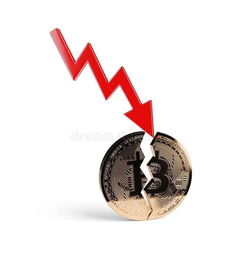 与红色箭头的Bitcoin高明的正面图金黄硬币 免版税库存照片