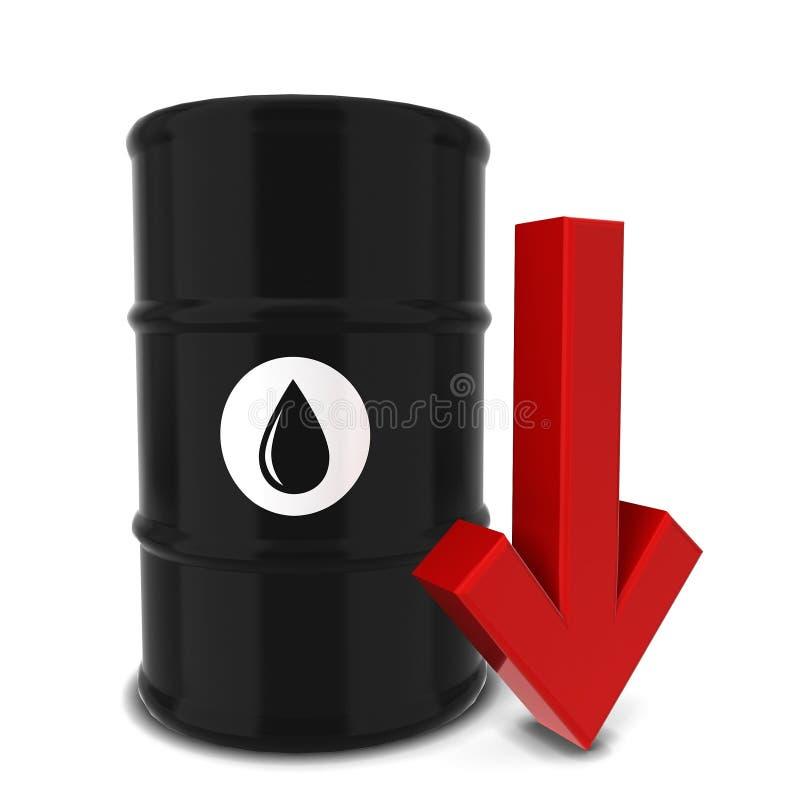 与红色箭头的油桶 向量例证