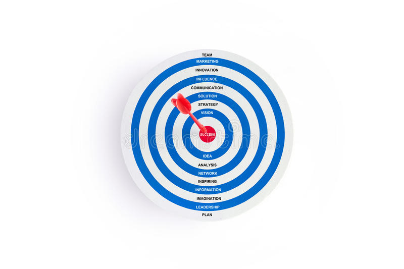 与红色箭头的红色在目标的目标和词在白色背景,企业概念 免版税库存图片