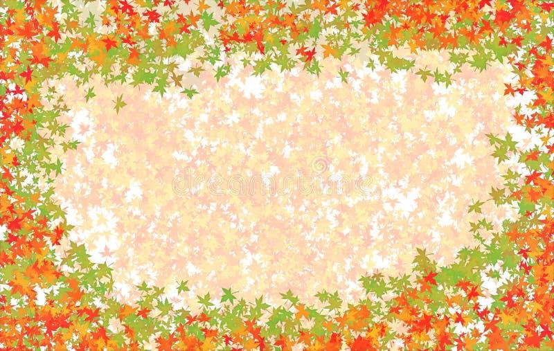 与红色绿色秋天槭树的基本的帆布离开与透明样式的元素在中心秋天 库存例证