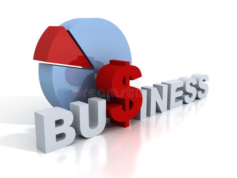 与红色美元的符号和圆形统计图表的企业概念 向量例证