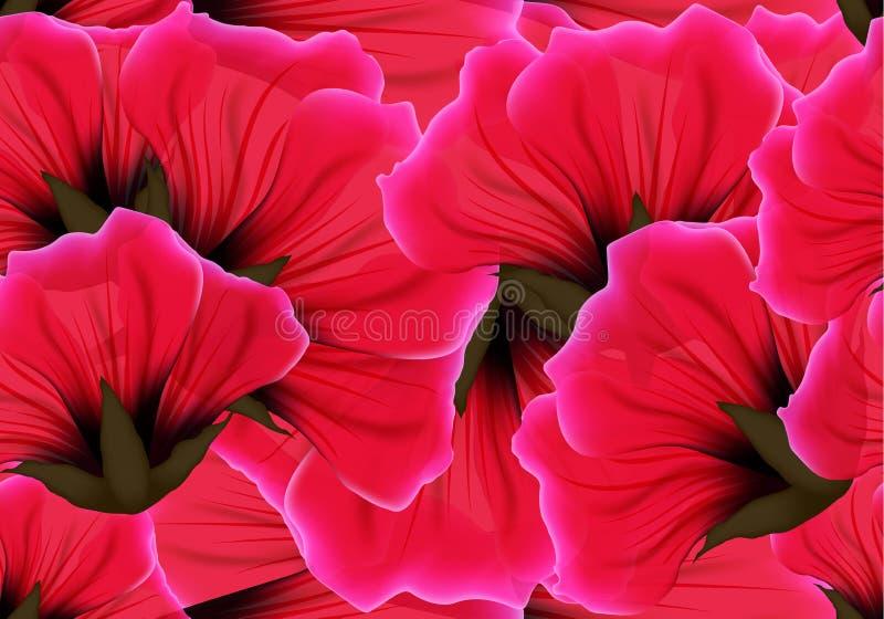与红色花和桃红色瓣的花卉无缝的样式 重复激情背景的明亮的生动的颜色 包装纸或布料 皇族释放例证