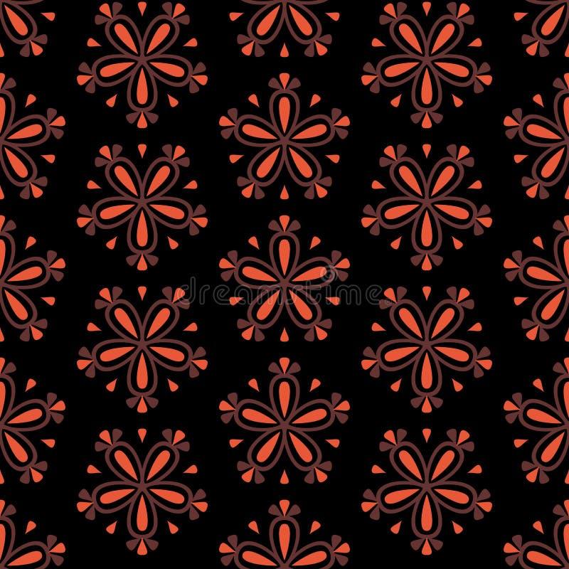 与红色花的无缝的花卉传染媒介样式在黑背景 皇族释放例证