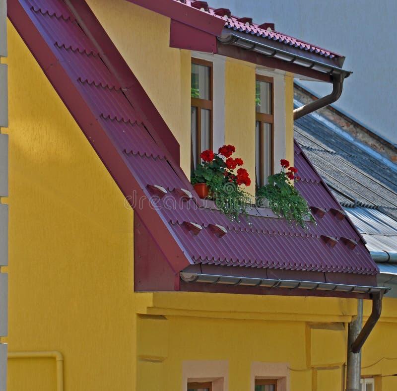 与红色花的阁楼窗口 免版税图库摄影