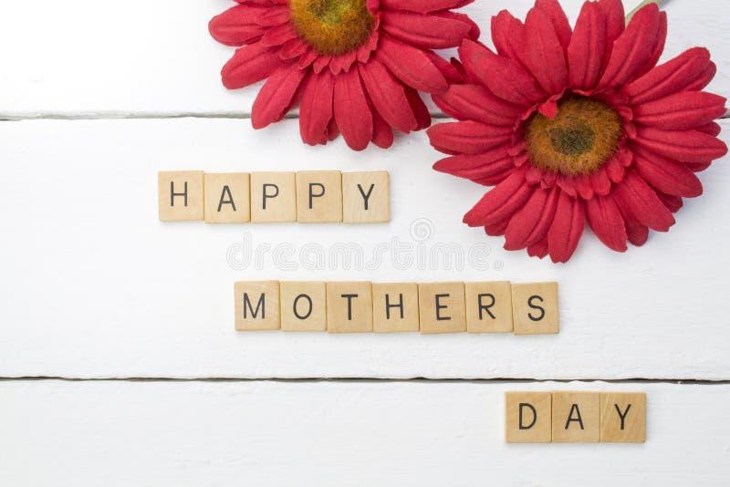 与红色菊花f的愉快的母亲日白色木背景 免版税库存照片