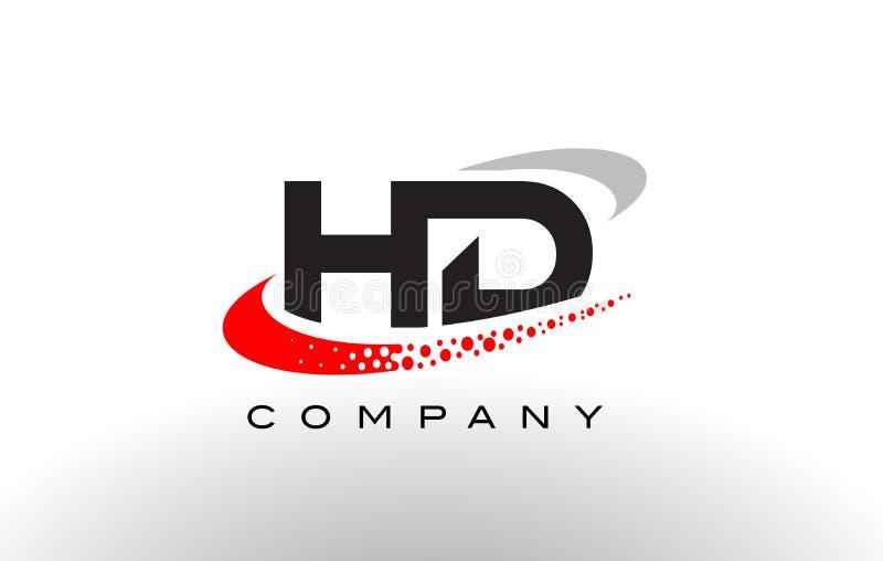 与红色被加点的Swoosh的HD现代信件商标设计 向量例证