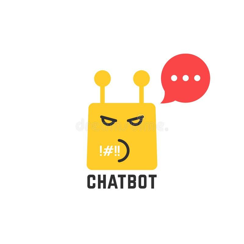 与红色讲话泡影的粗鲁的黄色chatbot象 向量例证