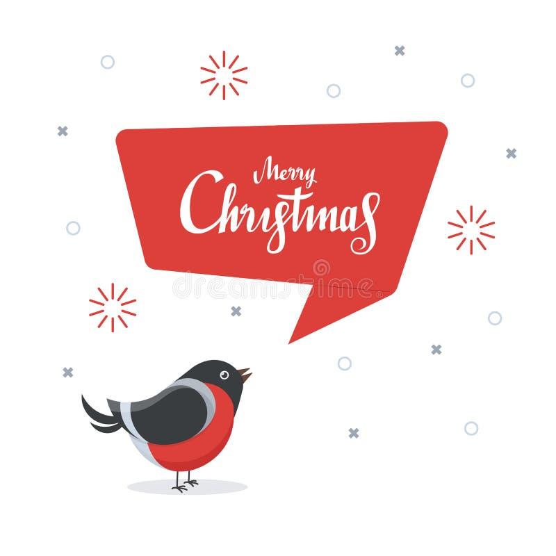 与红色讲话泡影的逗人喜爱的红腹灰雀 快活的圣诞节 设计贺卡模板 在平的样式的传染媒介例证 库存例证