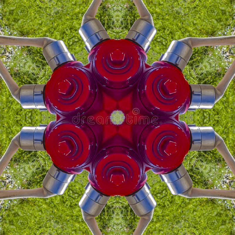 与红色金属消防龙头的抽象形状 皇族释放例证