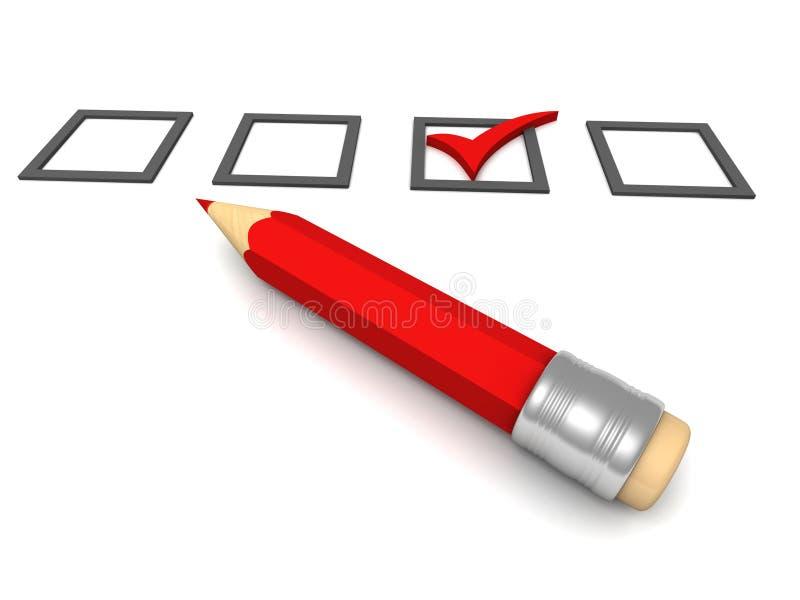 与红色铅笔的清单在白色背景 免版税库存照片
