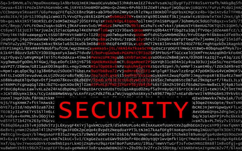 与红色锁的安全文本在被加密的文本 库存照片