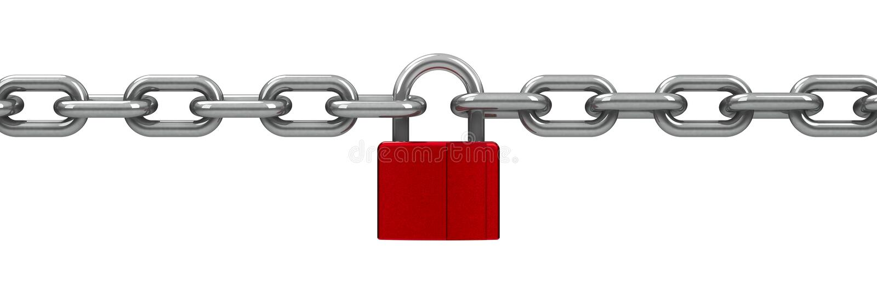 与红色锁的链子 向量例证