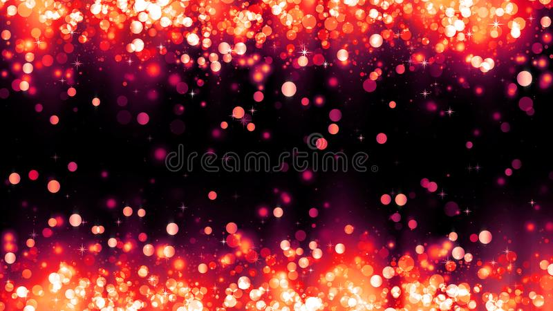 与红色闪烁微粒的背景 美好的假日背景模板 明亮的红色微粒框架  r 图库摄影