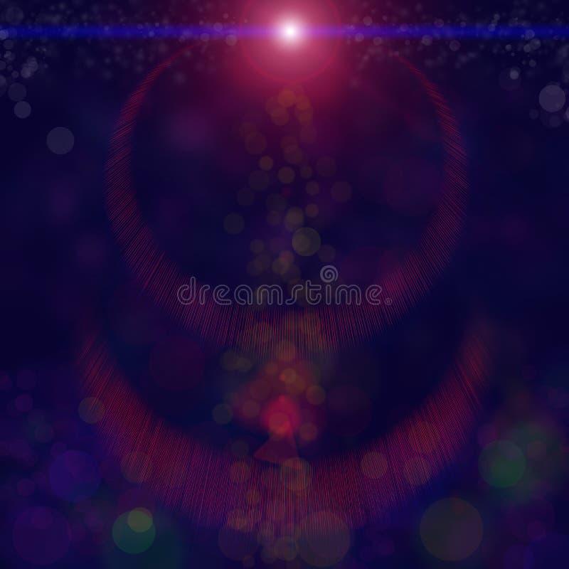 与红色闪烁的被弄脏的和Bokeh背景闪耀光芒在黑天空背景的光bokeh 光和纹理在subj 向量例证