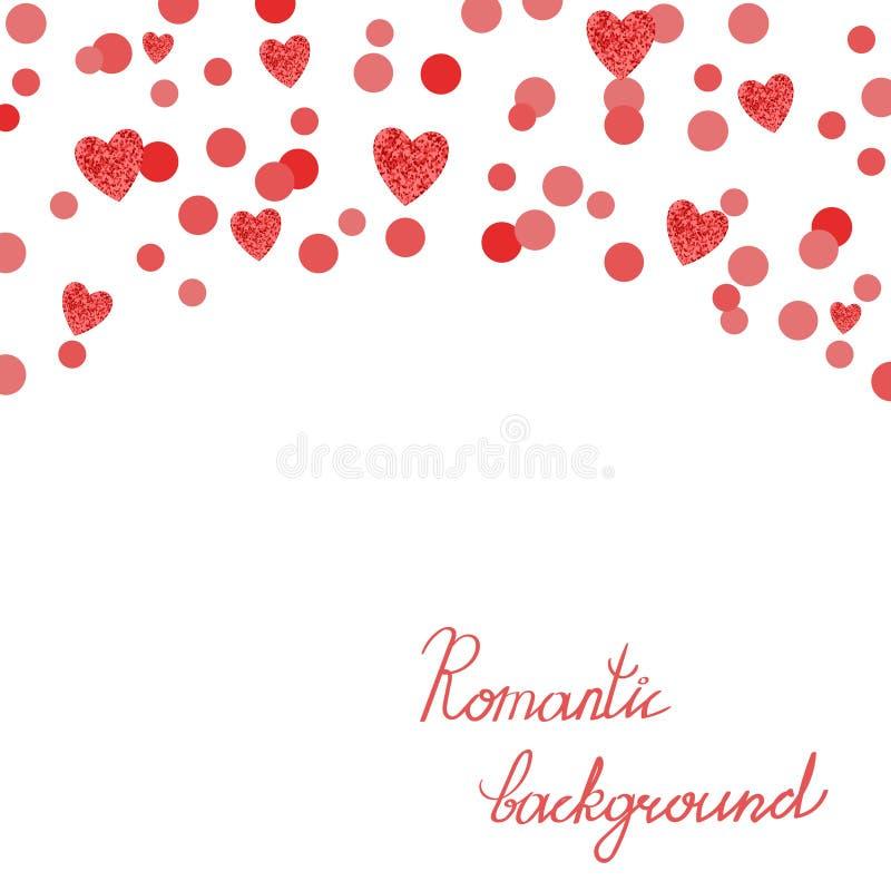 与红色闪耀的心脏的浪漫背景在白色 向量例证