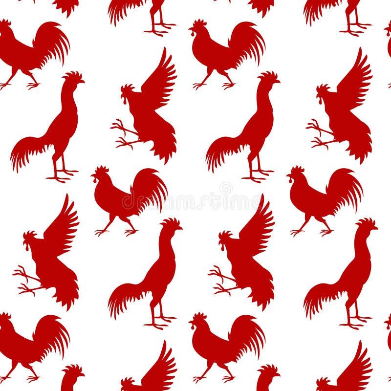 与红色雄鸡的无缝的样式背景 2017 ye的标志 向量例证