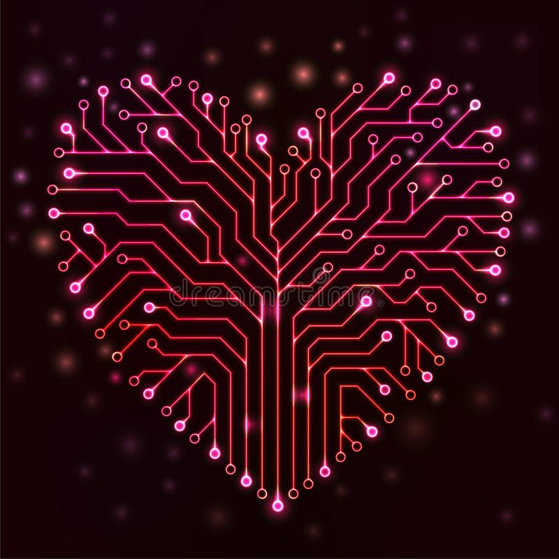 与红色霓虹灯的电路心脏 向量例证
