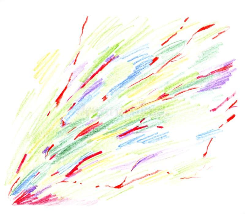 与红色静脉的摘要对角散漫的色的样式,用手画与在白色背景隔绝的色的铅笔 皇族释放例证