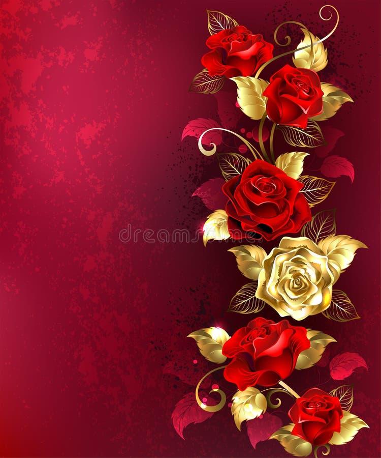 与红色首饰玫瑰的构成 向量例证