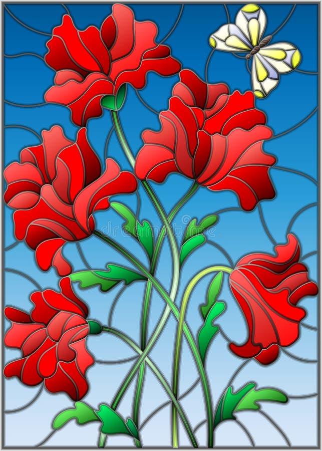 与红色鸦片和一只蝴蝶花束的彩色玻璃例证在蓝天背景  库存例证