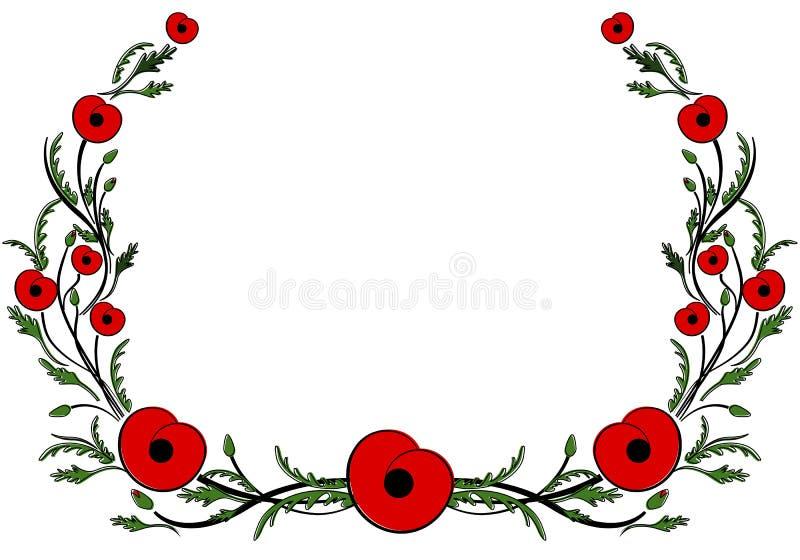 与红色鸦片的框架 二战,纪念标志 库存例证