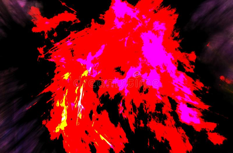 与红色黑地狱样式的现代水彩在白色背景 浅兰的梯度颜色背景 库存图片