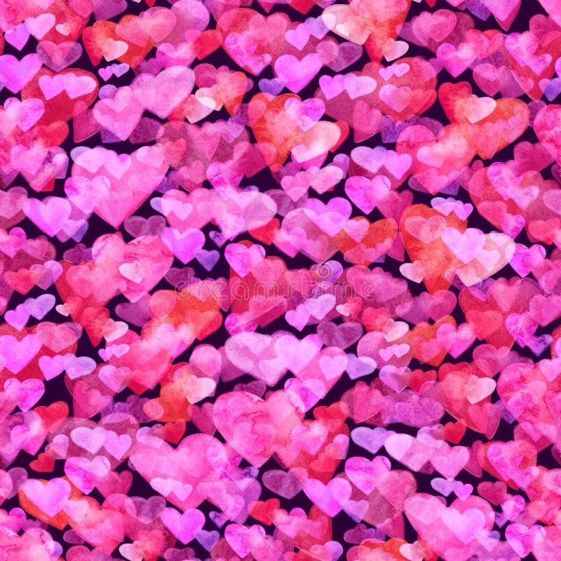 与红色,桃红色和紫罗兰色水彩心脏的无缝的样式 浪漫设计 在黑暗的背景 手画 皇族释放例证