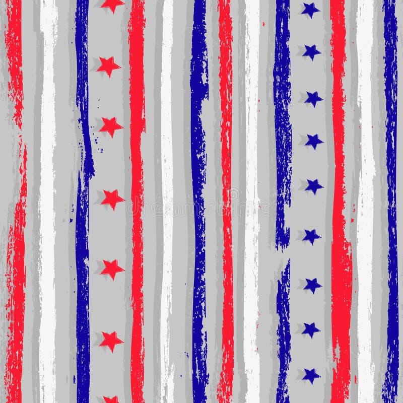 与红色,白色和蓝色难看的东西条纹的无缝的样式 皇族释放例证