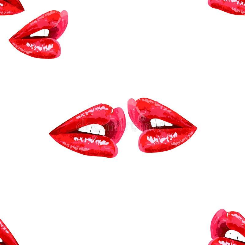 与红色嘴唇的白色无缝的样式 向量例证
